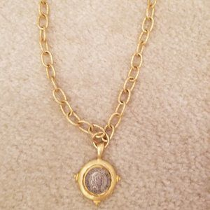 Gold Chain Necklace with Coin Pendant